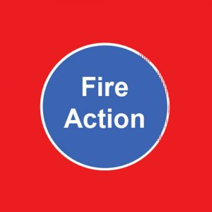 Fire Action & Door Signs (Red & Blue)